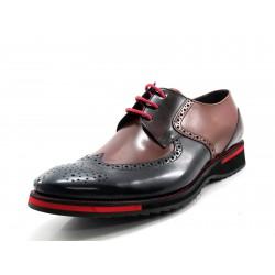 Zapato Angel Infantes cuero combinado con rojo