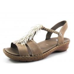 Sandalia Ara taupe flecos