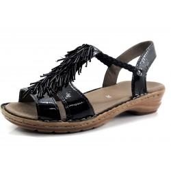 Sandalia Ara negra flecos