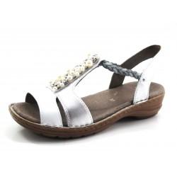 Sandalias de Vestir para mujer ancho G color blanco y plata