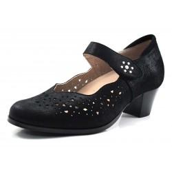 Zapato ancho especial Mary-Jane negro Pie Santo