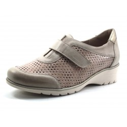 Zapato Velcro Pie Santo color taupe