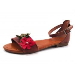 Sandalia Porronet flores cuero